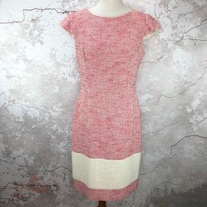 Kay Unger Pink Tweed Colorblock Cap Sleeve Dress